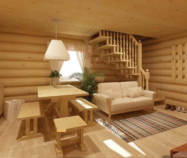 двухэтажная баня из бревна